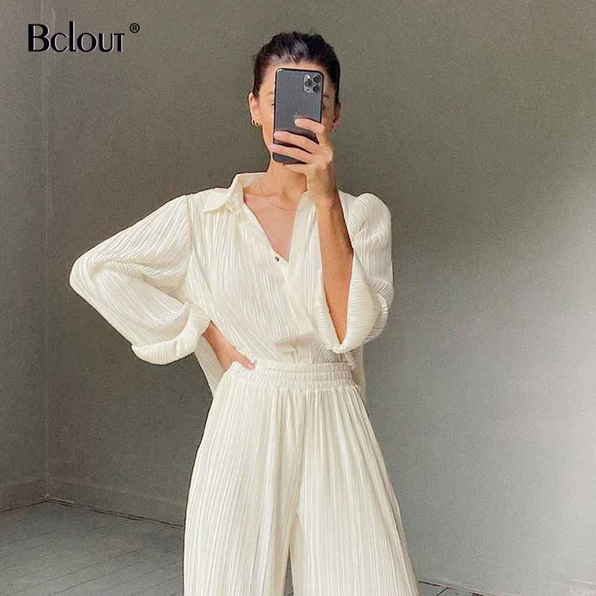 Bclout Long Sleeve Autumn Winter Shirts Blouses Woman Pleated Work Ladies Top Elegant Loose Women Blouse Khaki Solid Tops 2020