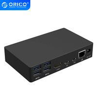 ORICO USB HUB Type C Universal Docking Station with 6 USB3.0 A Ports and Type C PD DC 12V RJ45 HDMI 4K High end Expansion Dock