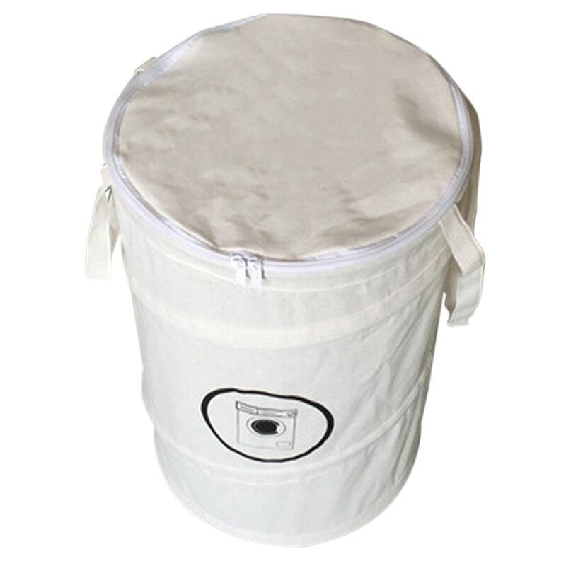 TOP!-Fashion Cotton Linen Laundry Basket Foldable Dirty Clothing Bag Basket Folding Laundry Bag With Zipper Laundry Basket