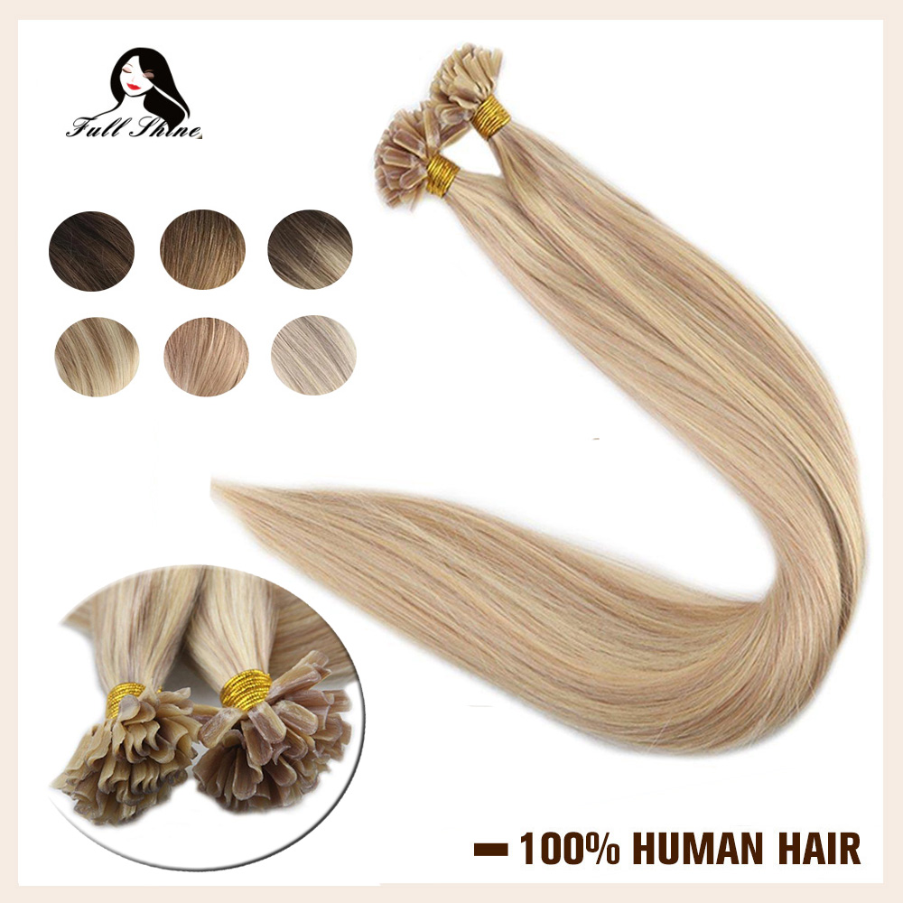 Full Shine U Tip Extensions Highlight Color Extensions 50g Machine Remy Nail Tip Extensions Human Hair Keartin Capsule Fusion