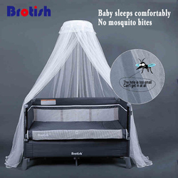 Crib mosquito net child baby mosquito net full cover type can be lifted with brackets landing universal