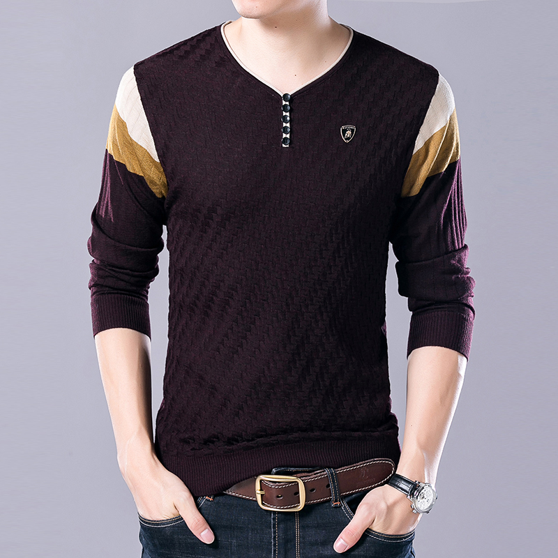 2019 New Fashion Brand V Neck Sweaters Mens Pullover Slim Fit Jumpers Knitred Woolen Autumn Korean Style Casual Men Clothes
