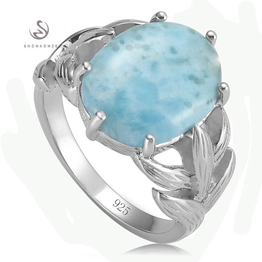 Eulonvan luxe Larimar pierre naturelle 925 en argent sterling bagues de mariage bijoux et accessoires pour femmes breloques S-3801 taille 6 7 8