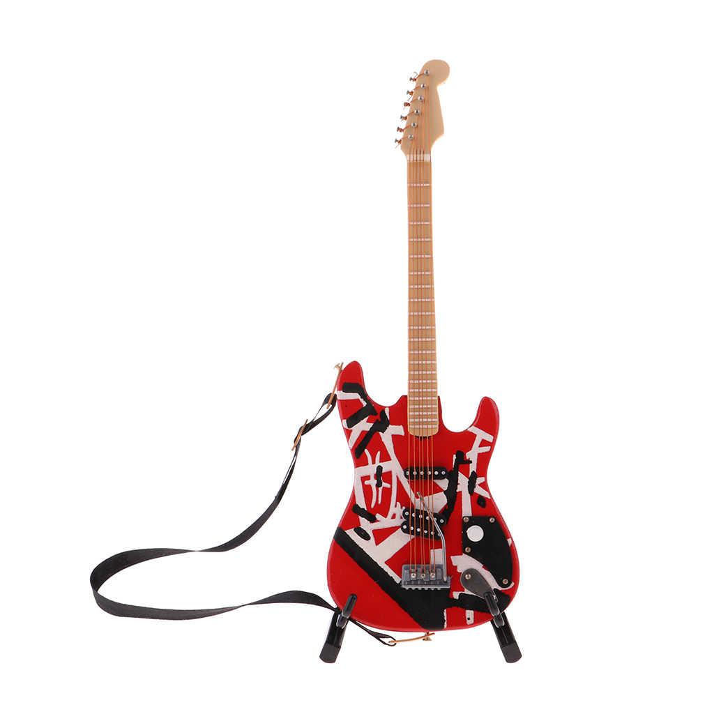 18cm Puppenhaus Miniatur Holz Gitarre Mit Stand Modell Für 1/6 BJD Puppe Rot