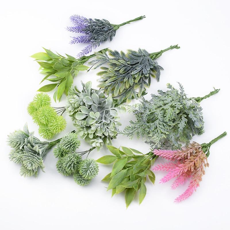 6pcs Plastic Floristics Artificial Plants Wedding Decorative Flowers Needlework Brooch Vases For Home Decor Christmas Garland