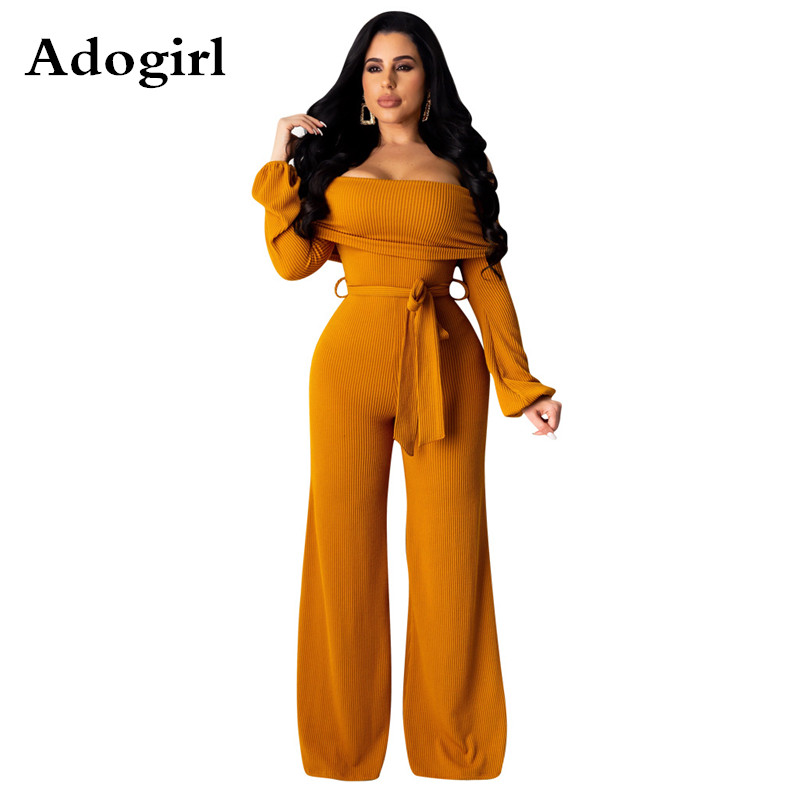 Knitted Rib Slash Neck Jumpsuit Women Off The Shoulder Long Sleeve Wide Leg Pants Brief Style Office Lady Lace Up Overalls