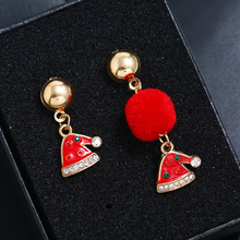 New Fashion Asymmetric Christmas Hat Earrings 2020 New Year Gift Rhinestone Pom Pom Drop Earrings For Women Xmas Jewelry pair of stylish rhinestone flower asymmetric design earrings for women