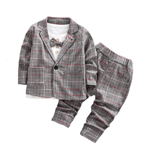 Boys Suits Blazers Fashion White Shirts Plaid Tops Long Pants Cotton Chlidren Clothing Sets Child Wedding Jacket for Kids