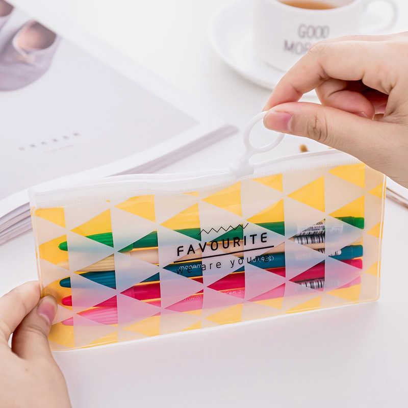 DL كوريا الجنوبية القرطاسية حلقة صغيرة جديدة سحب حقيبة حقيبة شفافة طالب القرطاسية اللوازم المدرسية
