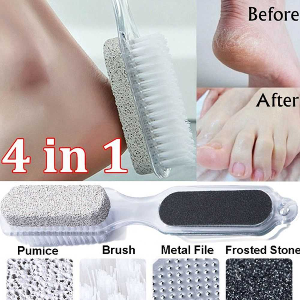 4 In 1 Multifunction Pedicure Tool Pumice Stone Exfoliating Foot Cleaner Stainless Steel Cleaning Brush Foot Massage DropShip