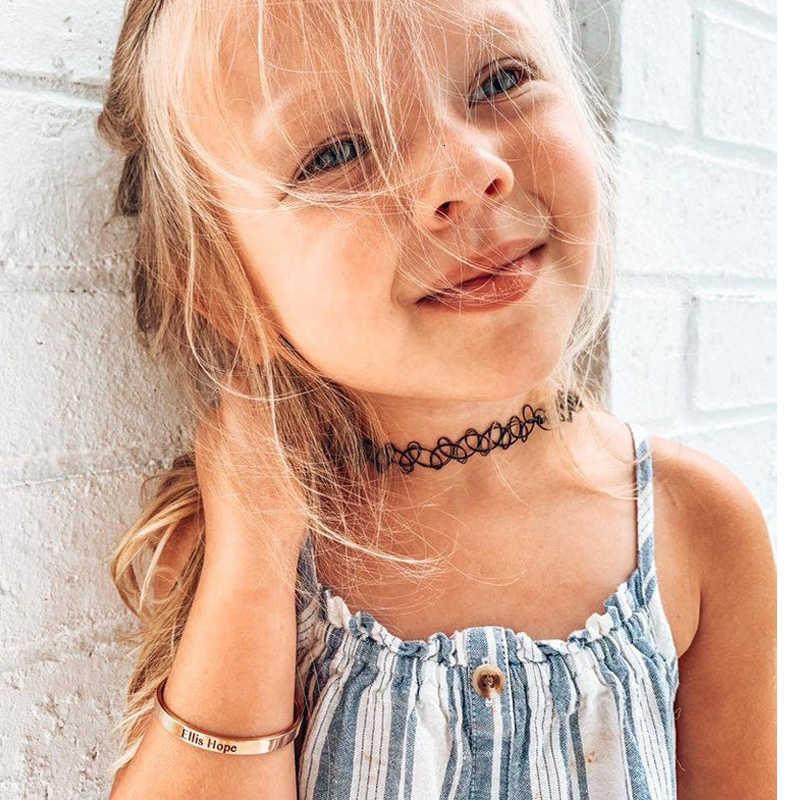 Золотой Детский Браслет-манжета, Браслет-манжета для мальчиков и девочек, персонализированная дата рождения, имя выгравировано без аллергии, никель