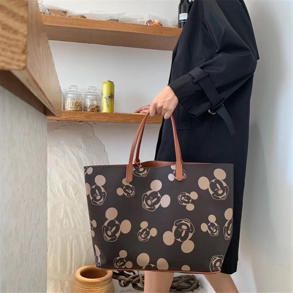 Микки Маус сумки женские сумки через плечо для женщин 2019 Большая вместительная дамская сумка для покупок из искусственной кожи женская сум...