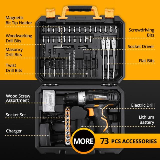 DEKO GCD12DU3 12V Electric Mini Cordless Drill Wireless DC Lithium-Ion Batter 2-Speed 4