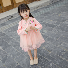 CNUM Baby Girls Cheongsam Traditional Chinese Style Satin Dress Floral New Hanfu Kids Fashion Qipao Long Sleeve Dresses Casual instahot hoodies floral embroidery dark black gothic punk velvet flare long sleeve cheongsam dress chinese style casual autumn