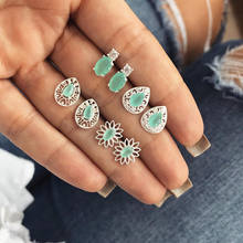 BoHo Chic Bohemia Telinga Post Stud Anting-Anting Set Putih & Hijau Oval Anting-Anting Perhiasan untuk Wanita 15-10 Mm, 1 Set (4 Pasang/Set)(China)