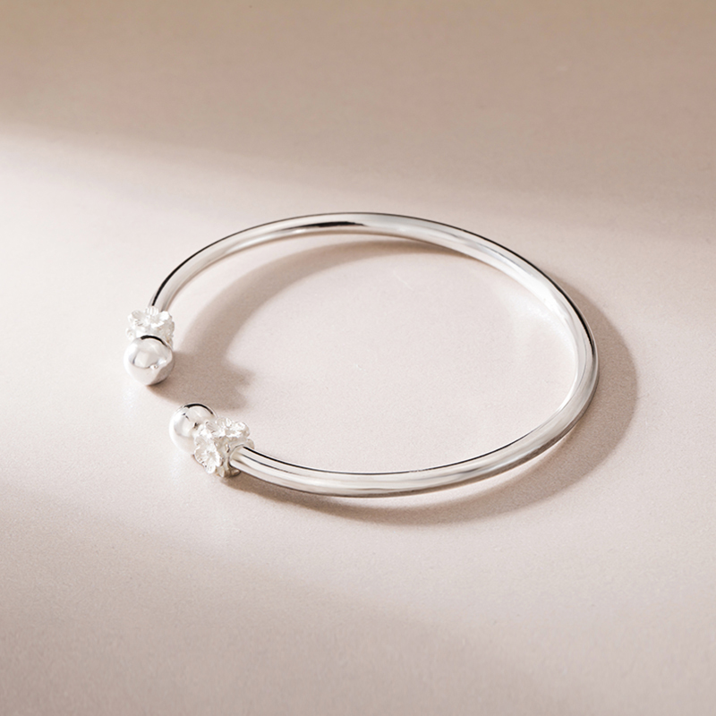 SA SILVERAGE Simple Fashion Casual/Sporty Style Sakura S925 11.5g Bracelet Female Sterling Silver Jewelry Personality Fashion