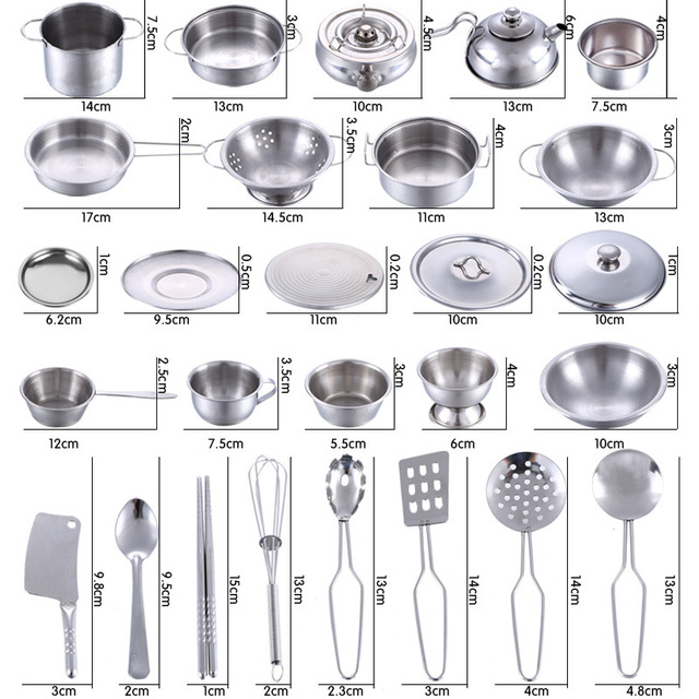 40PCS/Set Pretend Play Cooking Set Toy Stainless Steel Kitchen Toys Kids Stainless Steel Cooking Tools Educational Learning Toys 3