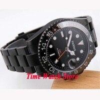 40mm parnis gmt relógio automático masculino pvd caso vidro de safira mostrador preto luminoso moldura cerâmica