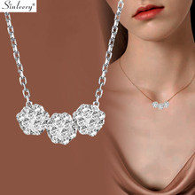 SINLEERY Three Ball Shape Choker Necklace Rose Gold Silver Color Small Crystal Chain Pendant Necklace Women Jewelry XL146 SSI(China)