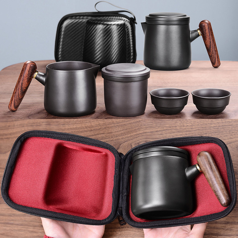 Yixing Purple Sand Tea Set Black/red Ceramic Japanese Tea Cup Set Portable Travel Teaware Kung Fu Tea Cup 1 Pot 2 Cups Gaiwan