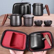 Yixing juego de té de arena púrpura, juego de tazas de té japonesas de cerámica negra/roja, taza de té portátil de viaje, taza de té de Kung Fu, 1 olla, 2 tazas Gaiwan