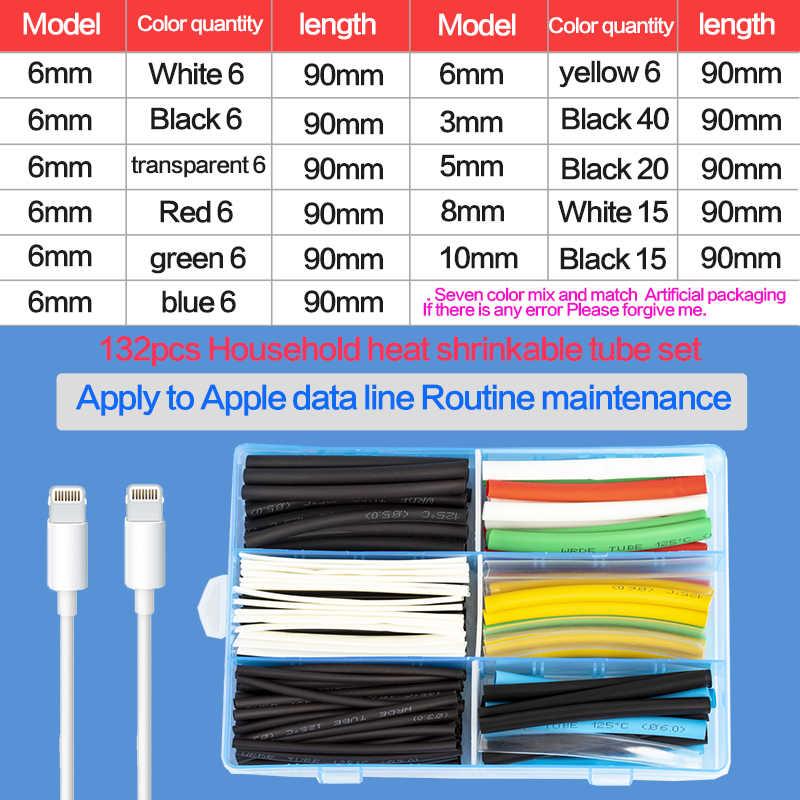 132 adet renkli/siyah çeşitli ısı Shrink boru kollu teller kablo yalıtımlı Sleeving ısı shrink boru seti
