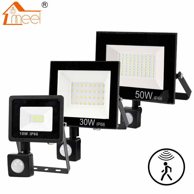 PIR MOTION SENSOR LED Flood Light 10W 30W 50W Lampu Sorot Outdoor 220V 240V LED Tahan Air lampu Sorot untuk Dinding Dinding Taman Lampu Jalan