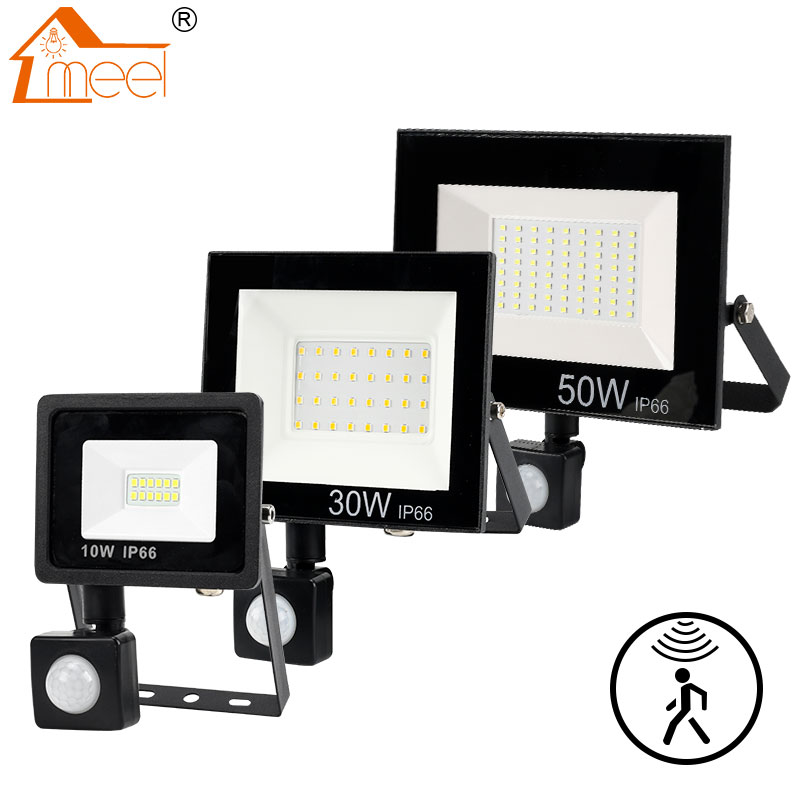 PIR 모션 센서 LED 홍수 빛 10W 30W 50W 야외 투광 조명 220V 240V 방수 Led 스포트 라이트 정원 벽 거리 빛