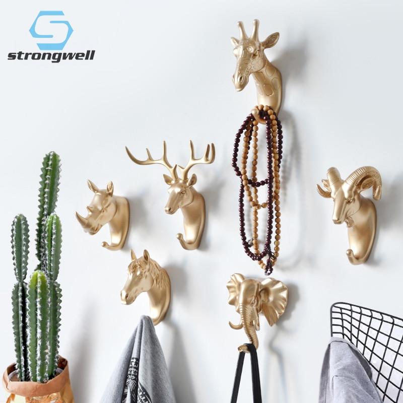 Strongwell Nordic Animal Hooks Hanging Hook Holder Strong Seamless Sticking Hook Hanger Keys Wall Decor Home Decoration