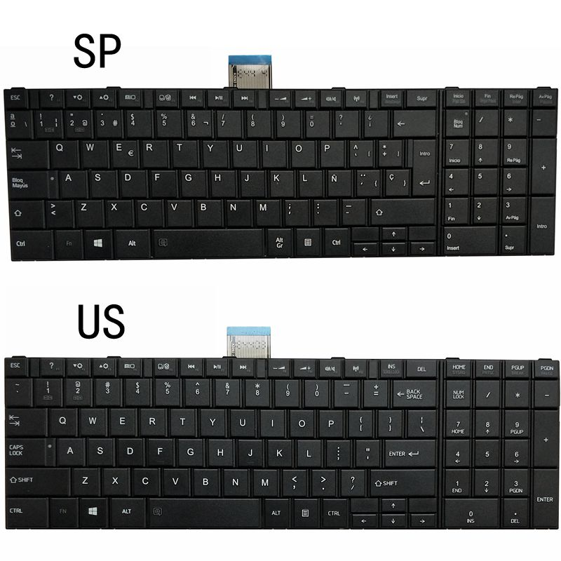 NEW US/SP LAPTOP KEYBOARD FOR Toshiba Satellite C850 C855D C850D C855 C870 C870D C875 C875D L870 L870D L875 L875D L850 L850D image