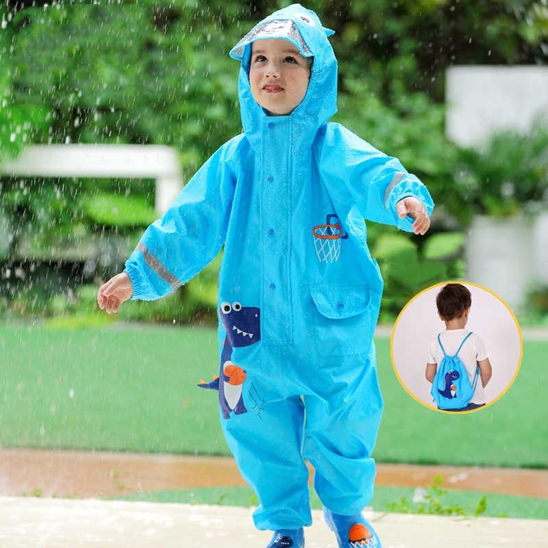 1-10 سنة معطف مطر للأطفال أطفال بنين بنات بذلة مقاوم للماء مقنعين قطعة واحدة الكرتون ديناصور الطفل ملابس المطر و السراويل