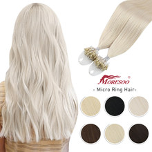Moresoo Micro Loop Hair Extensions Microlinks Machine Remy Brazilian 1G/1S 50g Blonde Balayage 100% Real Human Hair Straight