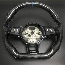 적합 VW 골프 7 GTI 골프 R MK7 Jetta Passat 폴로 GTI Scirocco 2014 2018 교체를위한 탄소 섬유 스티어링 휠