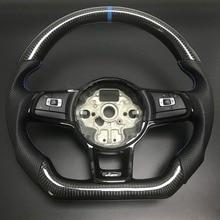 炭素繊維ステアリングホイールフィットvwゴルフ7 gtiゴルフr MK7ジェッタパサートポロgtiシロッコ2014 2018交換