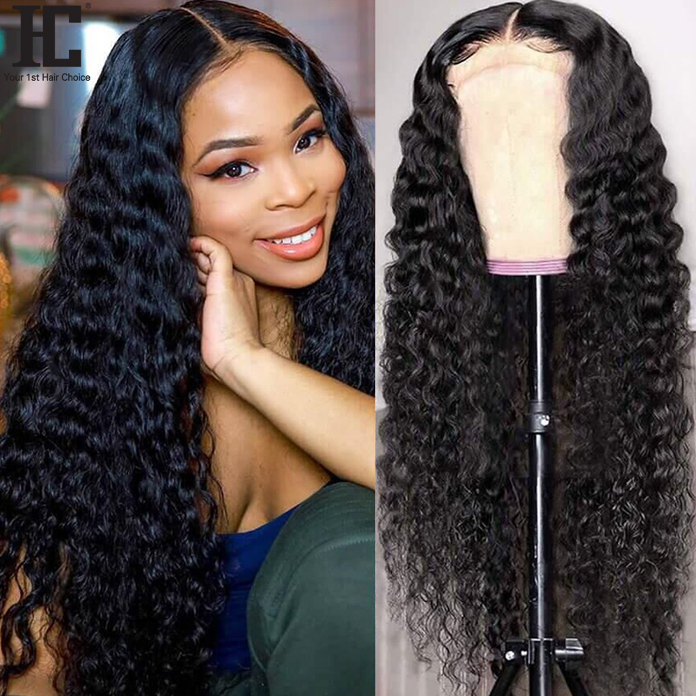 Бразильский кудрявый парик с глубокой волной 13x4, парики из человеческих волос на сетке спереди, предварительно выщипанные безклеевые волос...
