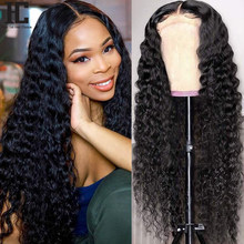 Onda profunda brasileira peruca encaracolado 13x4 perucas de cabelo humano frontal do laço pré arrancadas glueless remy 4x4 peruca fechamento do laço 8-26 Polegada 150%
