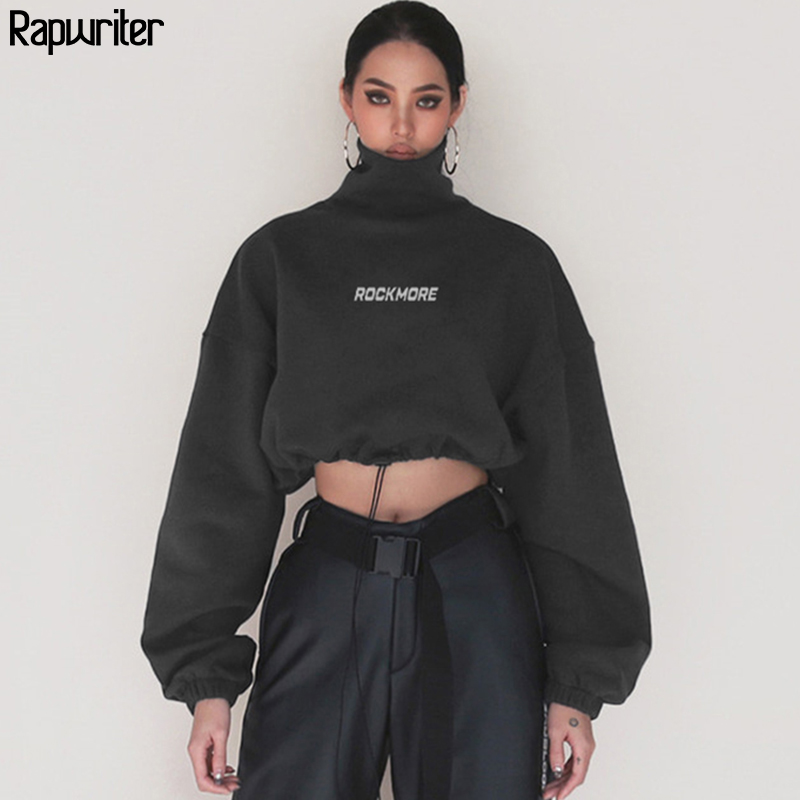 Rapwriter Fashion Harajuku Cotton Turtleneck Sweatshirt Women 2019 Autumn Loose Long Sleeve Fitted Waist Crop Top Pullovers