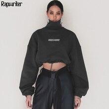 Rapwriter Fashion Harajuku Cotton Turtleneck Sweatshirt Women 2020 Autumn Loose Long Sleeve Fitted Waist Crop Top Pullovers