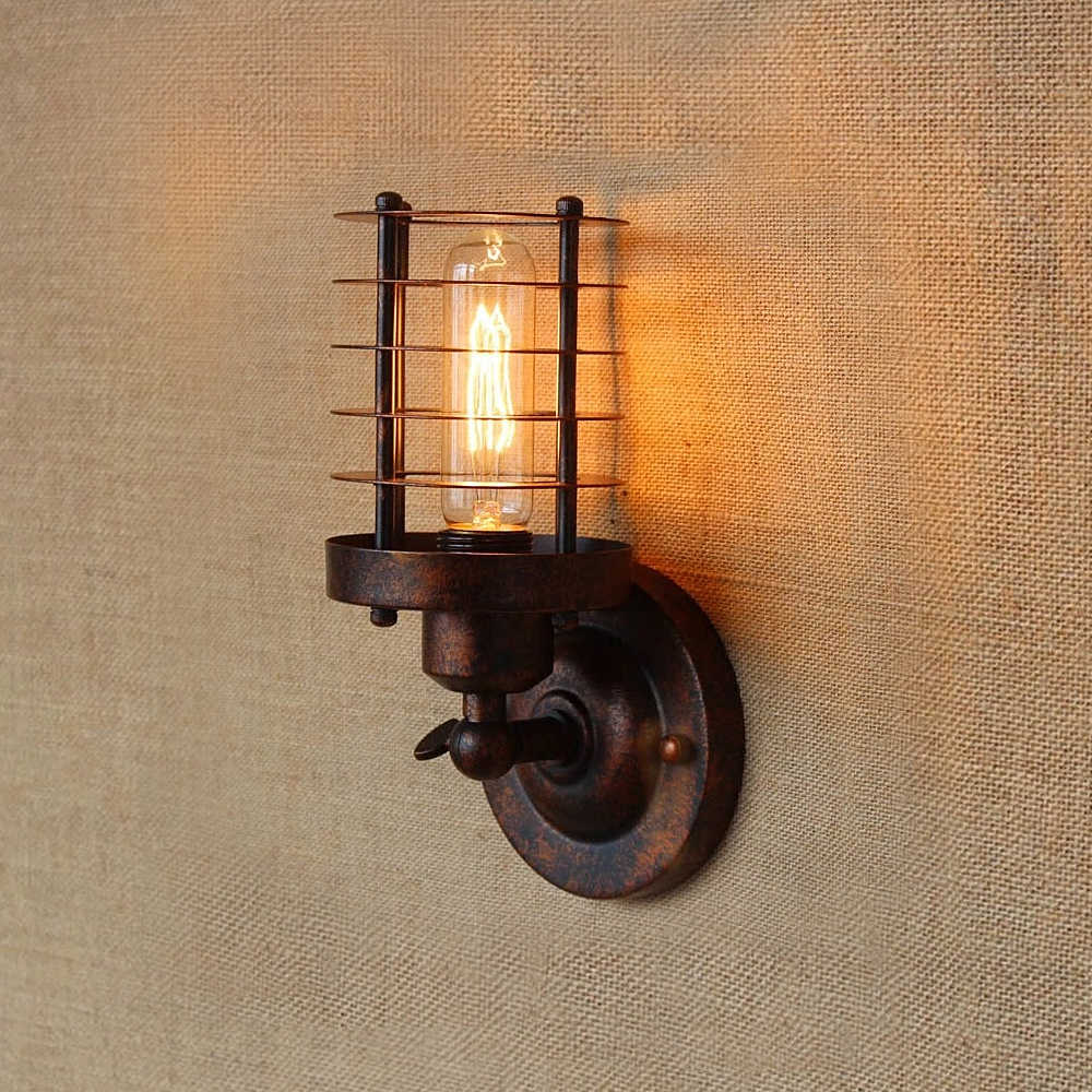 Vintage Industrial Wall Light Rust Wall Lamp Loft Wall Sconce Light Fixture Iron Lampshade Industrial Lighting Wall Sconces Lamp Led Indoor Wall Lamps Aliexpress