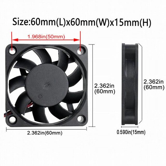 10 pièces LOT Gdstime DC 12V 60mm 6cm 60x60x15mm 2P 6015 refroidisseur radiateur 12v ventilateur de refroidissement