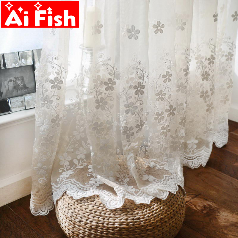 white lace luxury sheer curtains panels floral embroidery light flow window bedroom privacy translucent tulle drapes zh023 5