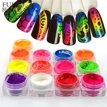 1 kutu Neon Pigment tozu tırnak floresan degrade Glitter kış parlak toz Ombre DIY tırnak sanat dekoru manikür CHYE01 13 1