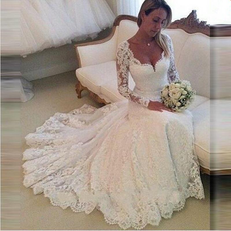 2018 Long Sleeves Vestido De Noiva Lace Appliques Mermaid Sweetheart Appliques Vintage Bridal Gown Mother Of The Bride Dresses