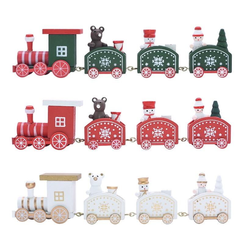 Neue Cartoon Weihnachten Holz Zug Weihnachten Dekorationen für Zu Hause Kind Spielzeug Neue Jahr Geschenk Weihnachten Dekoration Holz Ornament