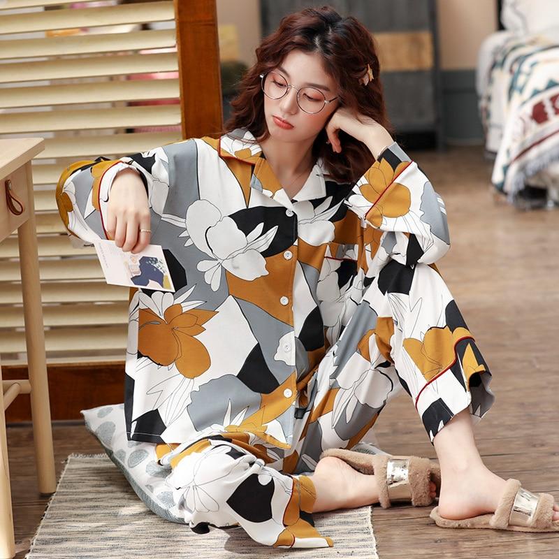 BZEL Women Pajamas Set Spring Autumn Nighty New Cartoon Printed Pijama Long Sleeve Cute Sleepwear Casual Homewear Female Pyjamas