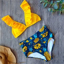 Sexy Vintage High Waisted Bikini 2020 Swimsuit Women Two Piece Ruffle Swimwear Bikini Set Plus Size Bathing Suits Summer XXL plus size print ruffle bikini set