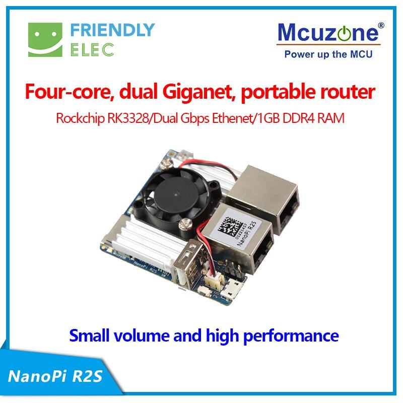 RK3328 Nanopi R2S Single Board Brosse Bricolage Routeur OpenWRT  Véritable Double Gigabit Port LEDE Carte De Développement