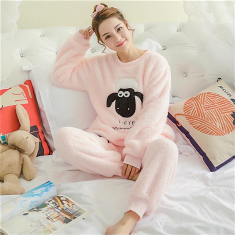 JULY'S SONG Women Pajama Sets 2019 Autumn Winter Pajamas Flannel Cartoon Thick Warm Women Sleepwear Cute Animal Female Homewear 37