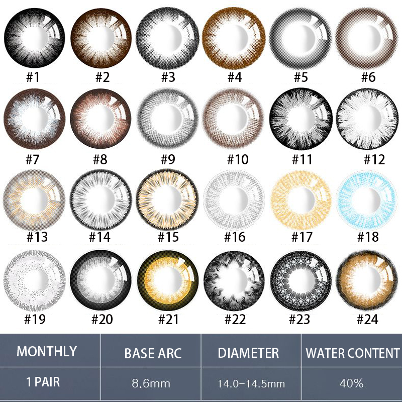 1 Pair Monthly Throw Beautiful Pupil Color Contact Lenses Path 14-14.5mm Multicolor Party Gift Cartoon Girl Decoration Cosplay