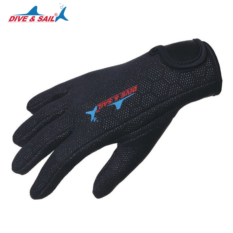 DIVE&SAIL Winter Warm 1.5mm Neoprene Anti-scratch Scuba Dive Swim Gloves with Nylon Tape for Swimming Diving Surfing Snorkeling